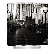 Nightfall On The Brooklyn Bridge Shower Curtain