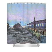 Nightfall On The Metal Mountain At Schnitzer Steel Shower Curtain by Asha Carolyn Young