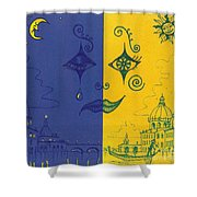 Nightime And Daytime In Venice Shower Curtain