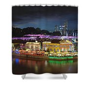 Nightlife At Clarke Quay Singapore Aerial Shower Curtain