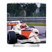 Niki Lauda. 1985 Portuguese Grand Prix Shower Curtain