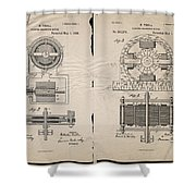Nikola Tesla's Magnetic Motor Patent 1888 Shower Curtain