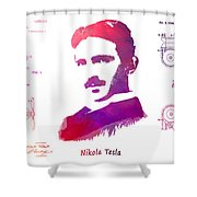 Nikola Tesla Patent Art Apparatus For Aerial Transportation  Shower Curtain