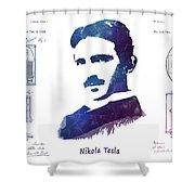 Nikola Tesla Patent Art Electric Arc Lamp Shower Curtain