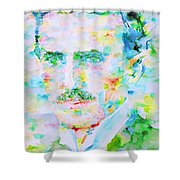 Nikola Tesla Watercolor Portrait Shower Curtain