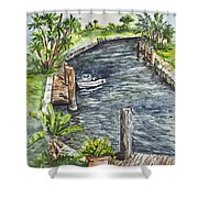 Ninas Back Yard Shower Curtain