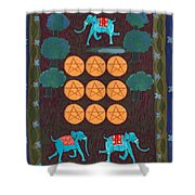 Nine Of Pentacles Shower Curtain