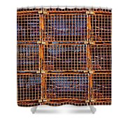 Nine Orange Lobster Traps Shower Curtain by Stuart Litoff