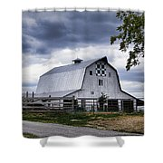 Nine Patch Quilt Barn Shower Curtain by Cricket Hackmann