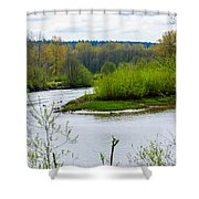 Nisqually River From The Nisqually National Wildlife Refuge Shower Curtain