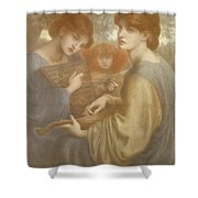 No. 1011 Study For The Bower Meadow Shower Curtain by Dante Gabriel Charles Rossetti