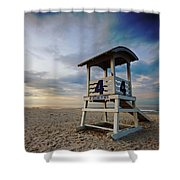 No 4 Lifeguard Station Shower Curtain
