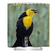 Yellow-headed Blackbird Singing Shower Curtain