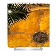 Sunshine Yellow Silk Decor With Stars Shower Curtain