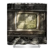 No One's Watching - Vintage Television In An Old Barn Shower Curtain