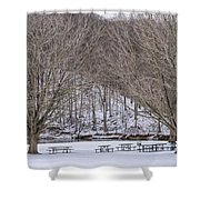 Snowy Picnic Ground In Winter Shower Curtain