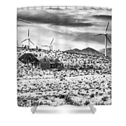 No Place Like Home Bw Palm Springs Desert Hot Springs Shower Curtain