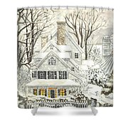 No Place Like Home For The Holidays Shower Curtain by Carol Wisniewski