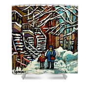 No School Today Out For A Snowy Walk Verdun Winter Winding Staircases Montreal Paintings C Spandau Shower Curtain