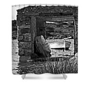 Vintage Boat Framed In Nature Of Minorca Island - Waiting  Shower Curtain