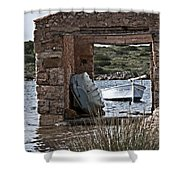 Vintage Boat Framed In Nature Of Minorca Island - Hide And Seek Shower Curtain