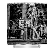 No Wake - Bw Shower Curtain