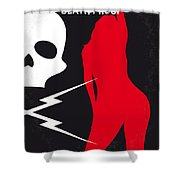No018 My Death Proof Minimal Movie Poster Shower Curtain