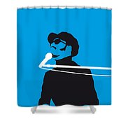 No039 My Stevie Wonder Minimal Music Poster Shower Curtain by Chungkong Art