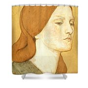 No.1575 Head Of A Girl In A Green Dress Shower Curtain