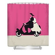 No205 My Roman Holiday Minimal Movie Poster Shower Curtain