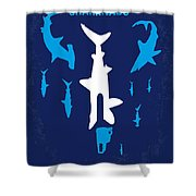No216 My Sharknado Minimal Movie Poster Shower Curtain