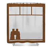 No238 My Rear Window Minimal Movie Poster Shower Curtain by Chungkong Art