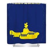 No257 My Yellow Submarine Minimal Movie Poster Shower Curtain