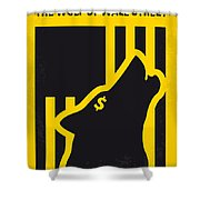 No338 My Wolf Of Wallstreet Minimal Movie Poster Shower Curtain