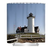 Nobska Lighthouse On Cape Cod At Woods Hole Massachusetts Shower Curtain