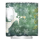 Noel Christmas Card Shower Curtain