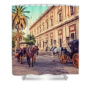 Noon At Cathedral Square. Seville Shower Curtain