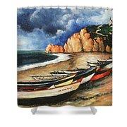 Normandy Coast - Landscape Oil Shower Curtain