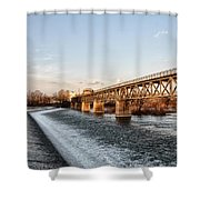 Norristown Dam And Railroad Bridge Shower Curtain