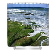 North Carolina Coastal Rocks Shower Curtain