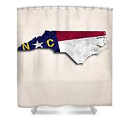 North Carolina Map Art With Flag Design Shower Curtain