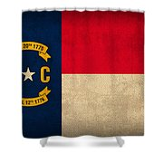 North Carolina State Flag Art On Worn Canvas Shower Curtain by Design Turnpike