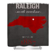 North Carolina State University Wolfpack Raleigh College Town State Map Poster Series No 077 Shower Curtain