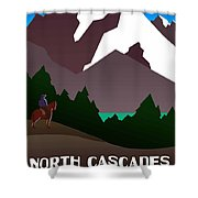 North Cascades National Park Vintage Poster Shower Curtain