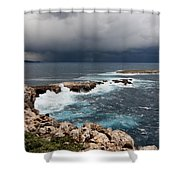 Wild Rocks At North Coast Of Minorca In Middle Of A Wild Sea With Stormy Clouds Shower Curtain