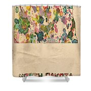North Dakota Map Vintage Watercolor Shower Curtain