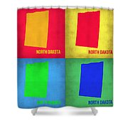 North Dakota Pop Art Map 1 Shower Curtain by Naxart Studio