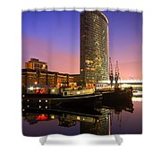 North Dock In Canary Wharf. Shower Curtain