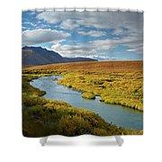 North Klondike River Flowing Shower Curtain