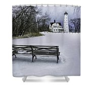 North Point Lighthouse And Bench Shower Curtain